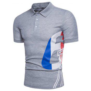 Mixed Colors Pattern Polo Collar T-shirt - LIGHT GRAY L
