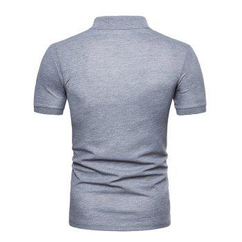 Mixed Colors Pattern Polo Collar T-shirt - LIGHT GRAY XL