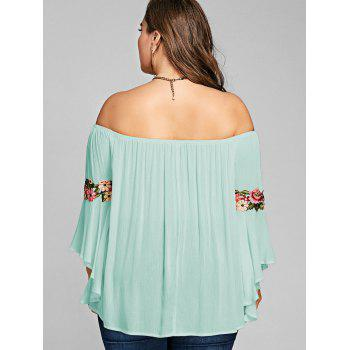 Plus Size Embroidery Off The Shoulder Blouse - LIGHT CYAN XL