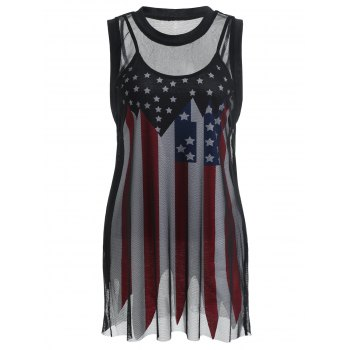 Fishnet T-shirt and American Flag Slip Top Suit - BLACK L