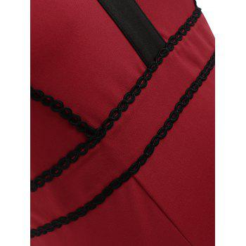 Plus Size Back Cut Out Pencil dress - RED WINE 4XL