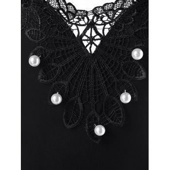 Lace Appliqued Pearled Tank Top - BLACK M