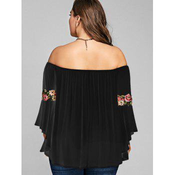 Plus Size Embroidery Off The Shoulder Blouse - BLACK 5XL
