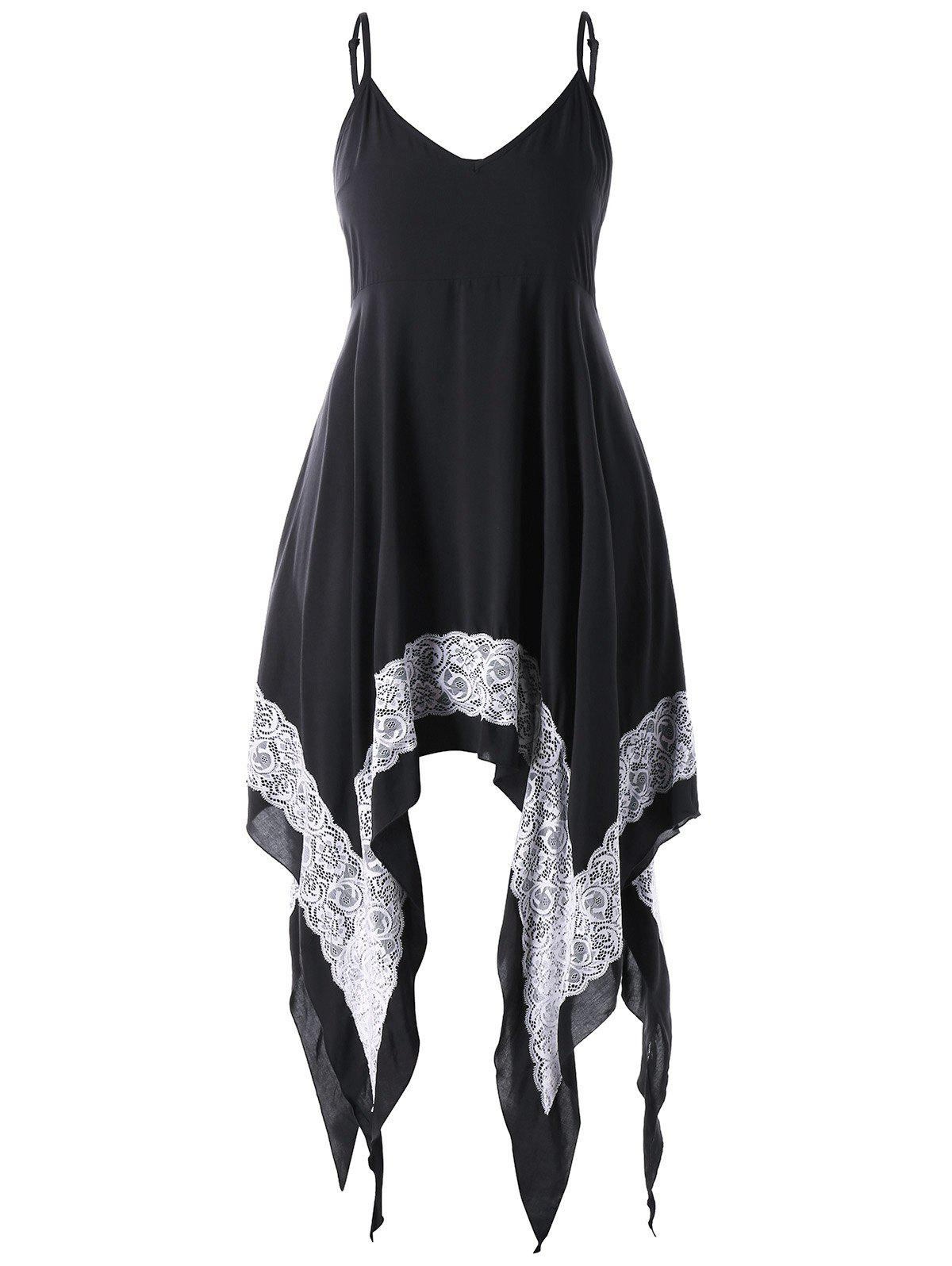 Plus Size Handkerchief Hem Summer Dress - BLACK 3XL