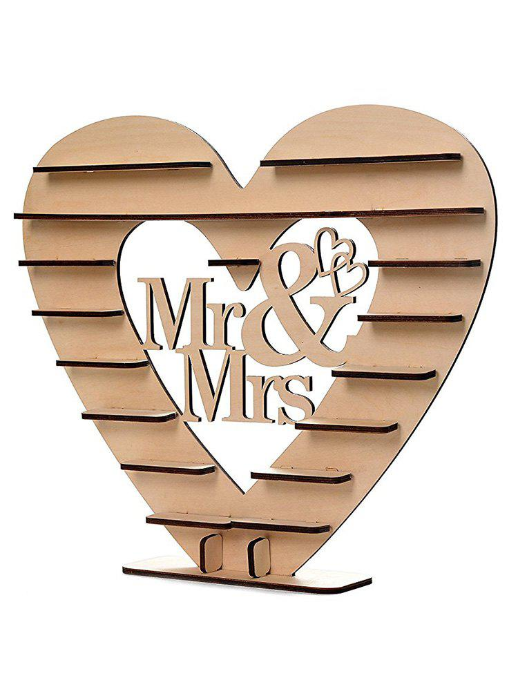 Wedding Decor Heart Shaped Wooden Chocolate Display Stand - CAMEL BROWN