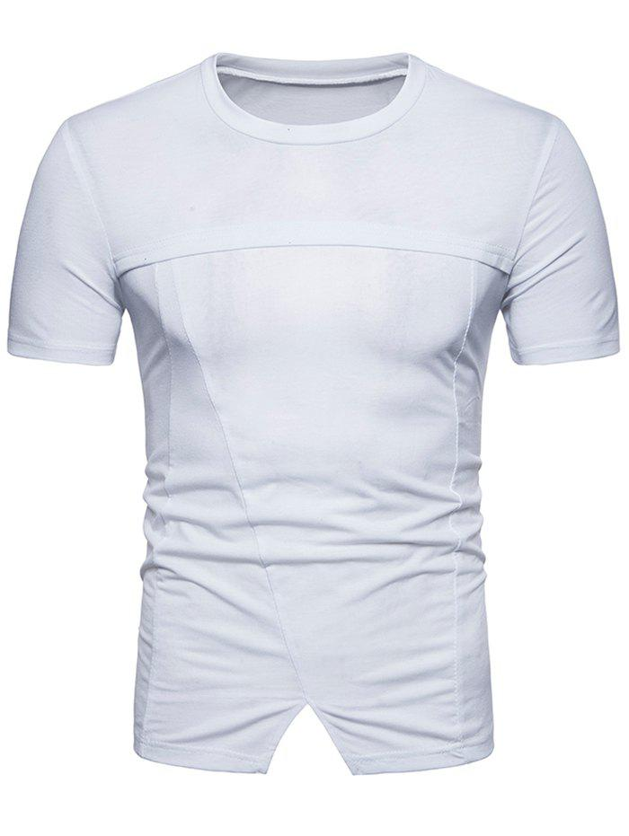 Round Collar Bottom Triangle T-shirt - WHITE XL