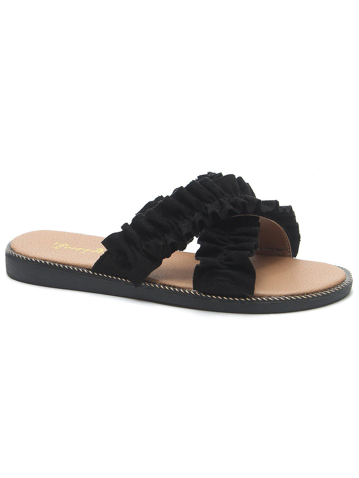 Criss Cross Flat Heel Ruffled Suede Slippers - BLACK 38