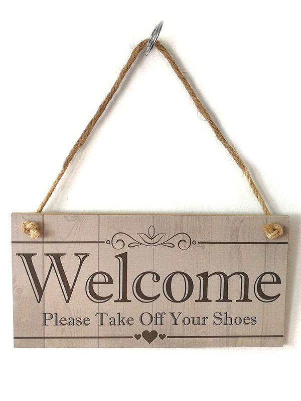 Home Decor Welcome Sign Hanging Wooden Plaque - CAMEL BROWN