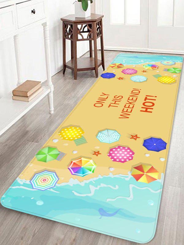 Seaside Waves Seaside Holiday Printed Floor Decor Area Rug - multicolor W16 INCH * L47 INCH