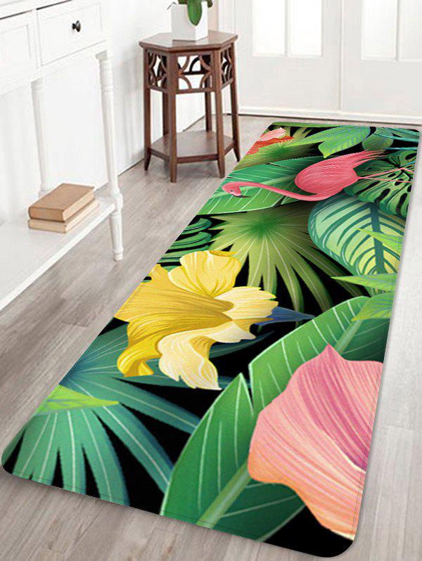 Flamingo In Leaves Pattern Anti-skid Floor Area Rug - multicolor W16 INCH * L47 INCH
