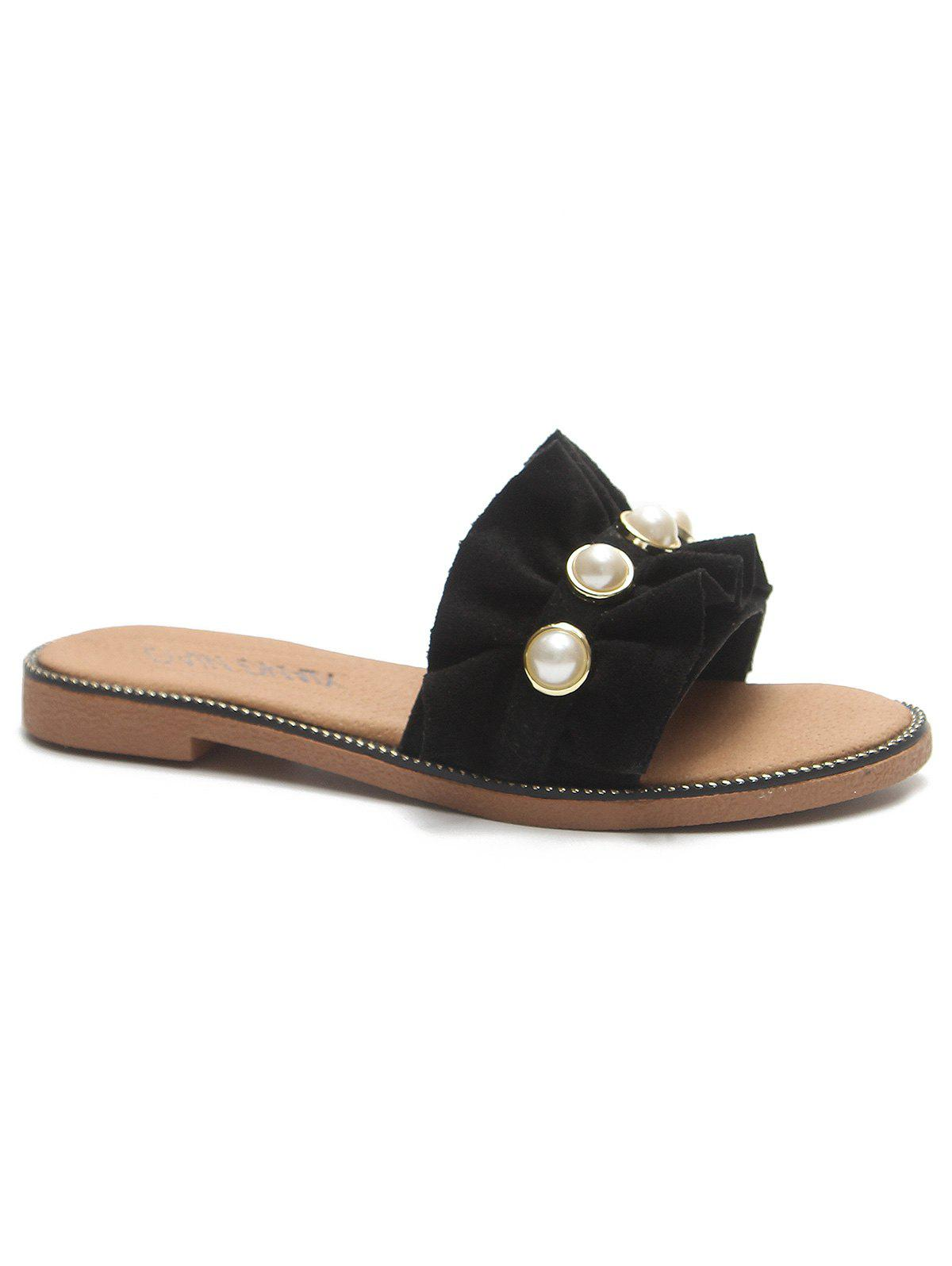 Suede Ruffled Flat Heel Faux Pearl Sandals - BLACK 39