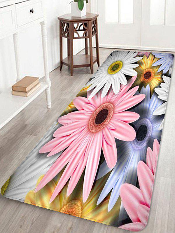 Daisy Pattern Anti-skid Floor Area Rug - multicolor W24 INCH * L71 INCH