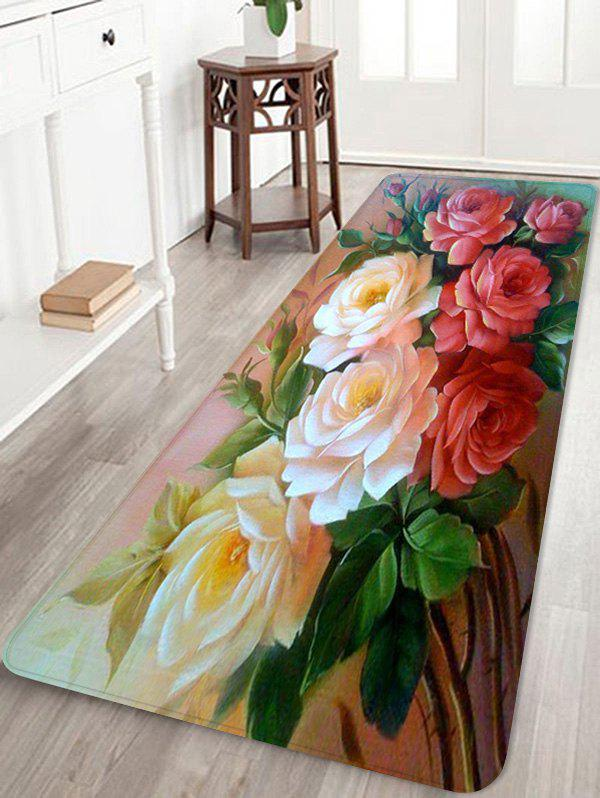 Flowers Pattern Non-slip Floor Area Rug - multicolor W16 INCH * L47 INCH