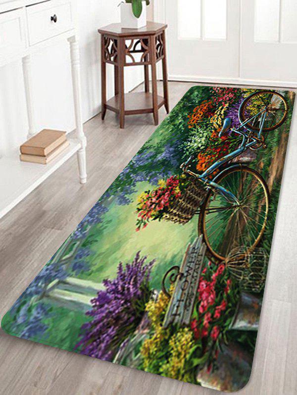 Bike In Flower Garden Pattern Anti-skid Floor Area Rug - multicolor W16 INCH * L47 INCH
