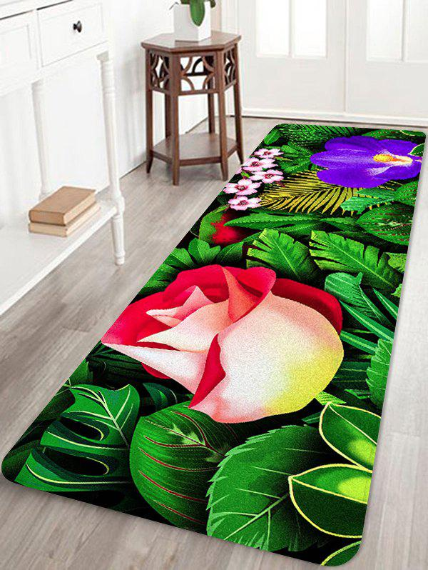 Flowers and Leaves Pattern Anti-skid Floor Area Rug - multicolor W24 INCH * L71 INCH