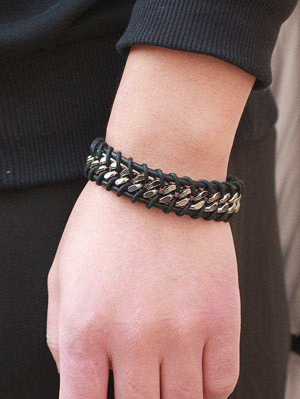Alloy Artificial Leather Rope Braid Bracelet - BLACK