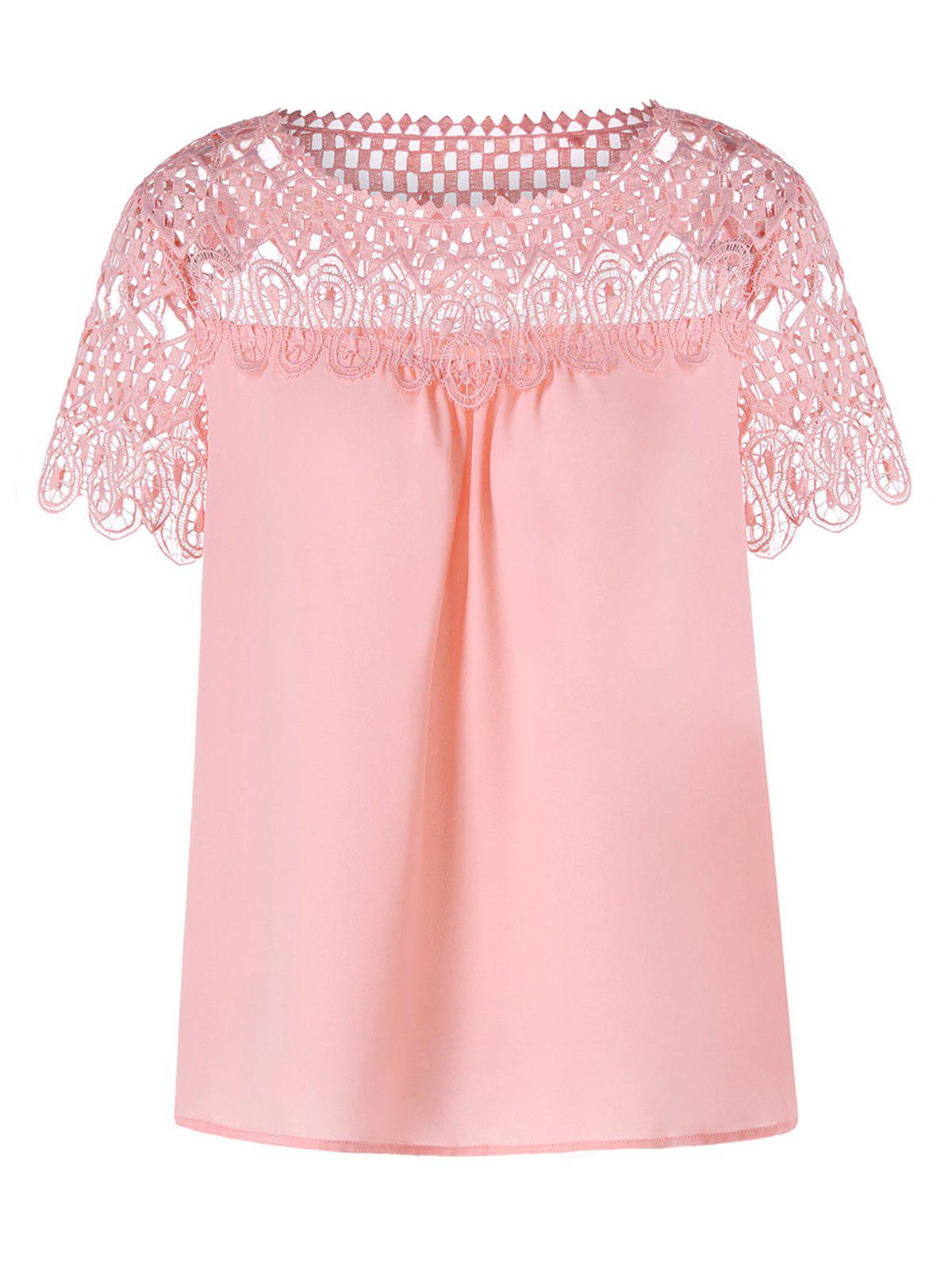 Lace Panel Hollow Out Blouse - PIG PINK XL