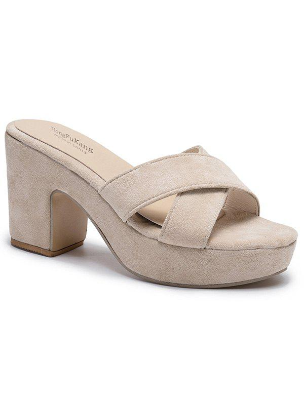 High Heel Cross Strap Suede Sandals - APRICOT 38