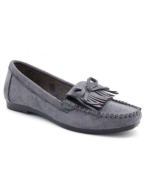 Retro Fringes Bow Whipstitches Flats - GRAY 35