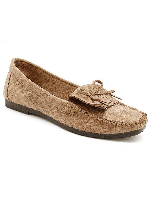 Retro Fringes Bow Whipstitches Flats - BROWN 37