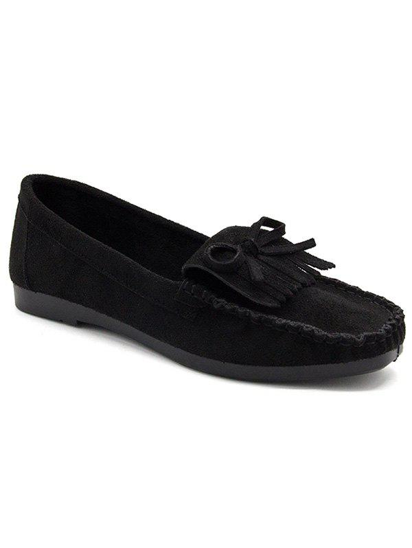 Retro Fringes Bow Whipstitches Flats - BLACK 40