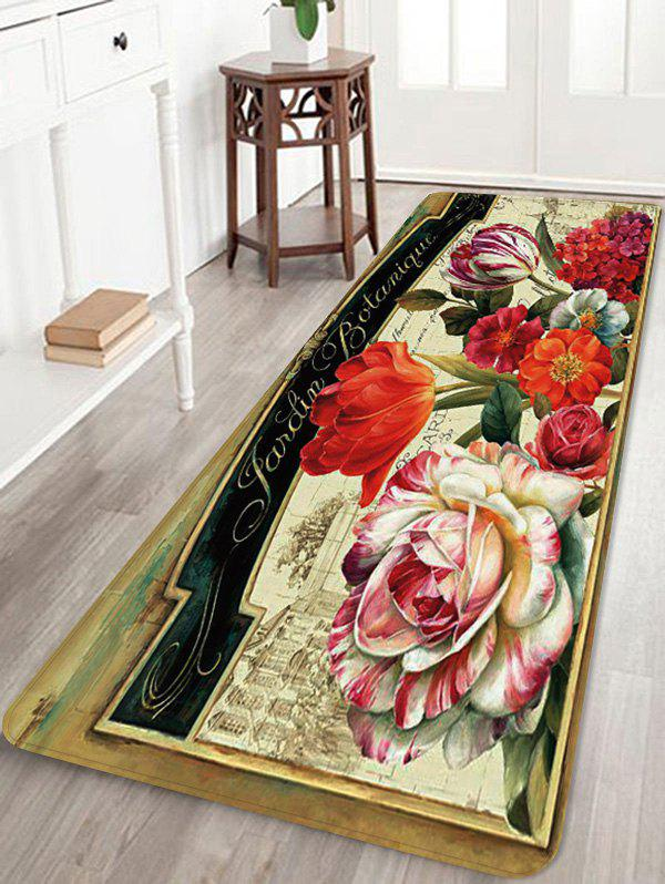 Retro Flowers Pattern Water Absorption Area Rug - multicolor W24 INCH * L71 INCH