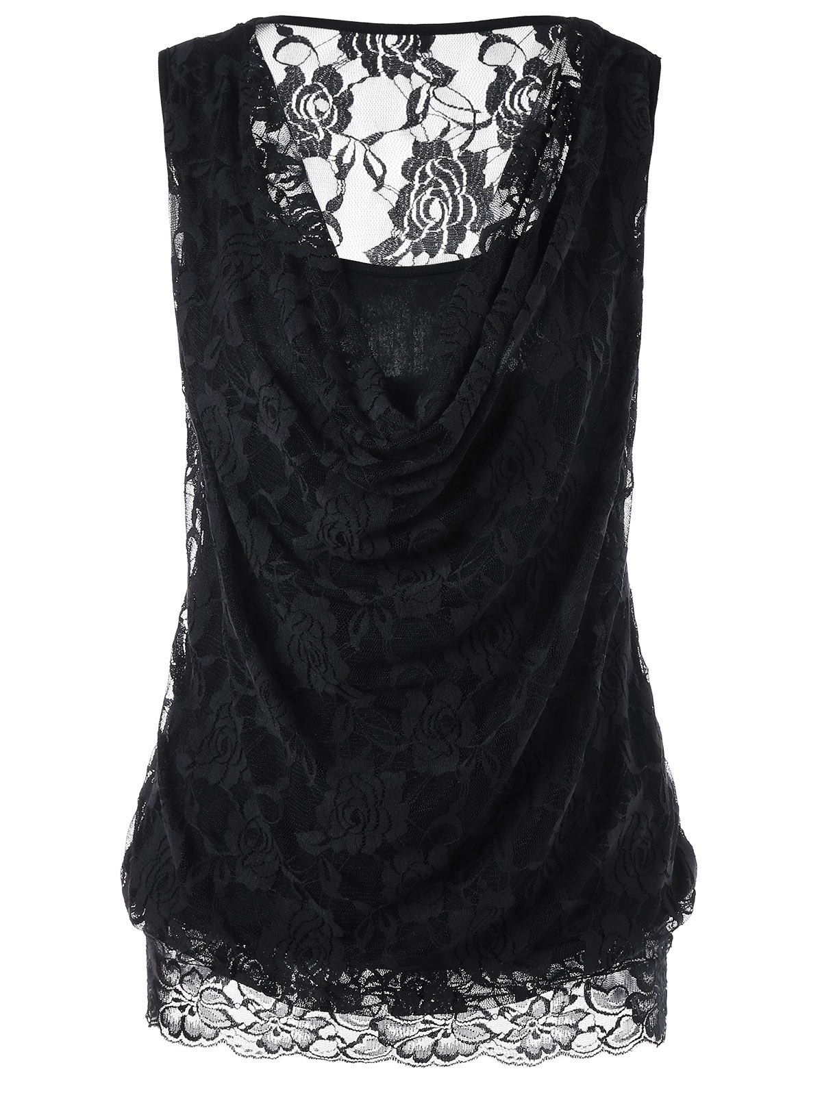 Lace Panel Semi Sheer Tank Top - BLACK 2XL