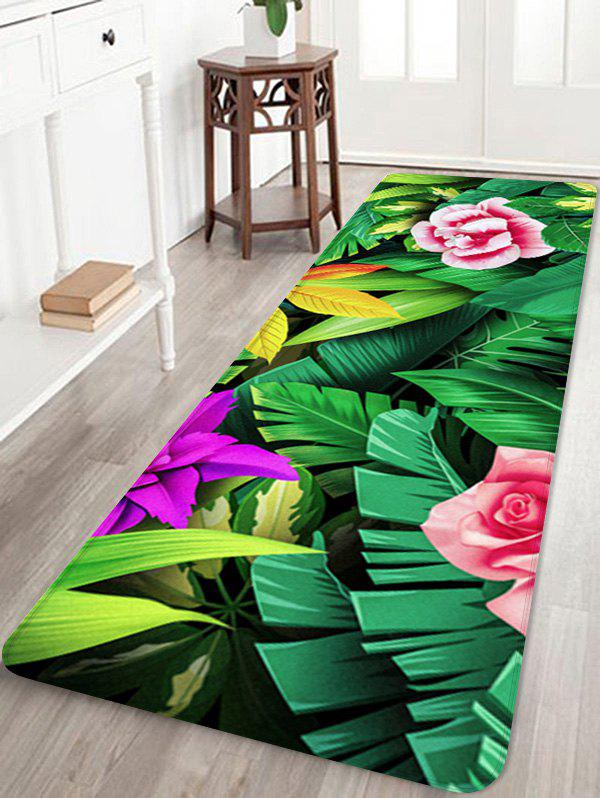 Forest Flowers Print Floor Decor Area Rug - multicolor W24 INCH * L71 INCH