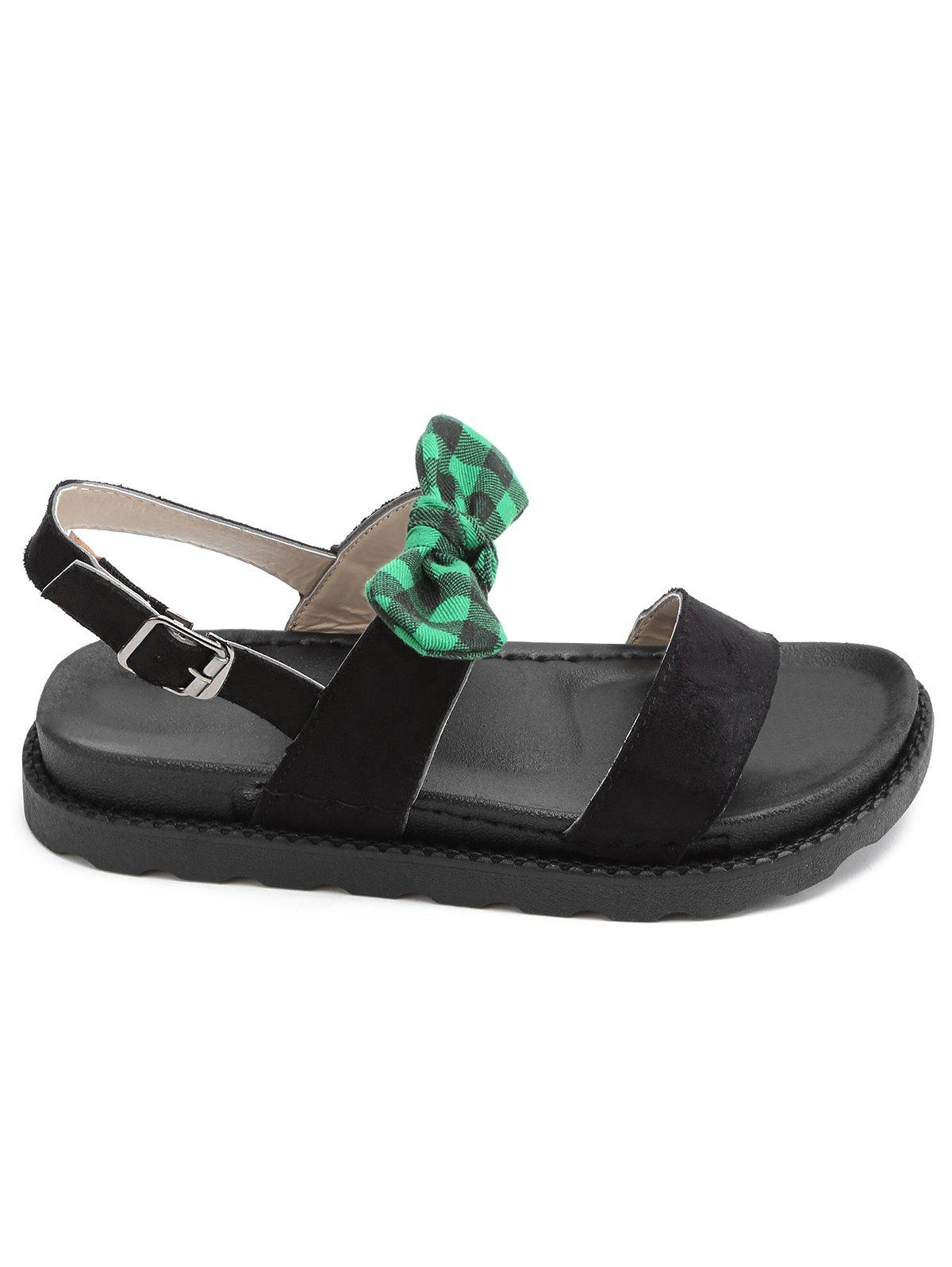 Leisure Outdoor Plaid Bowknot Sandals - GREEN 36