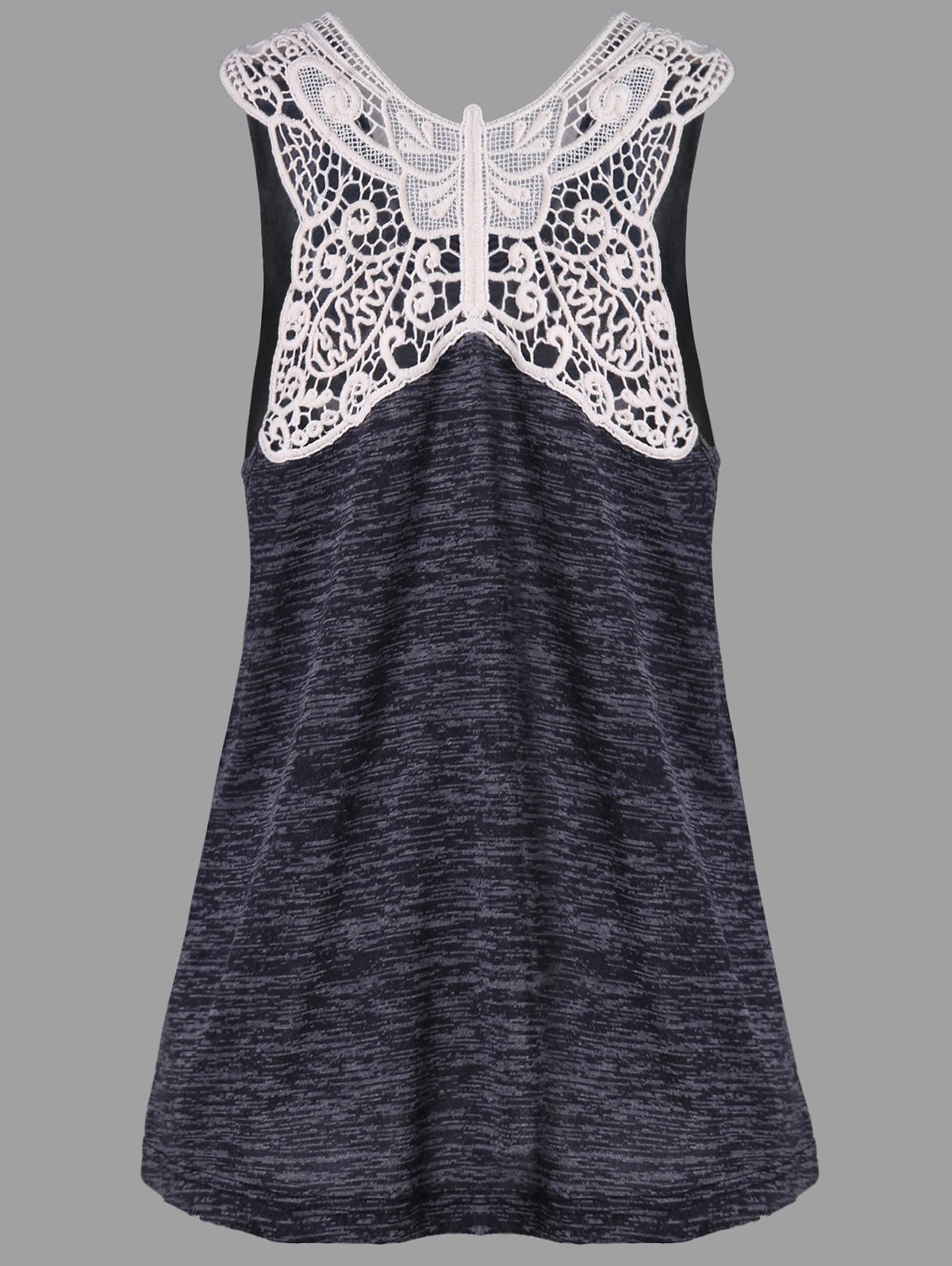 Butterfly Lace Panel Tank Top - CARBON GRAY L