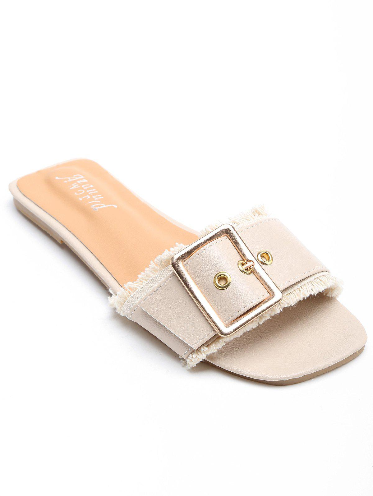 Chic Holiday Flat Heel Slide Sandals - BEIGE 38