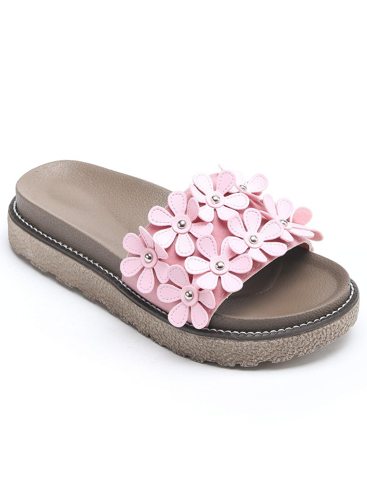 Leisure Flowers Holiday Beach Slides - LIGHT PINK 35
