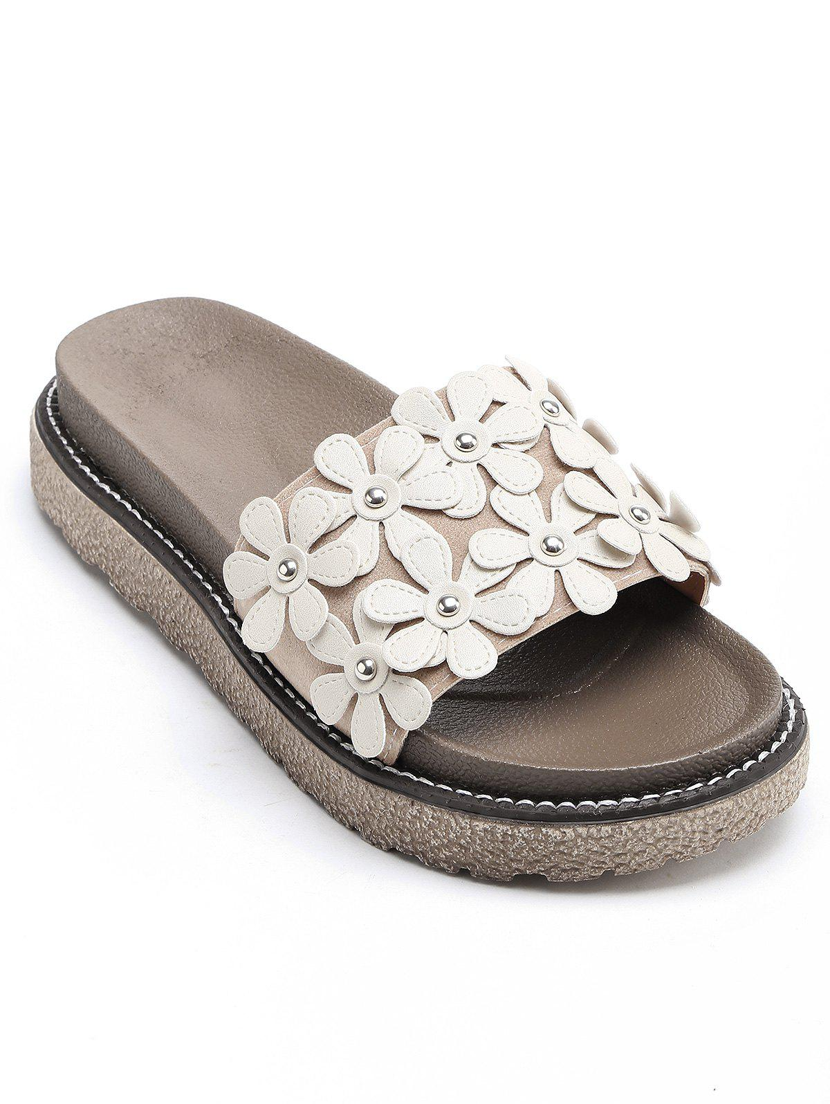Leisure Flowers Holiday Beach Slides - BEIGE 36