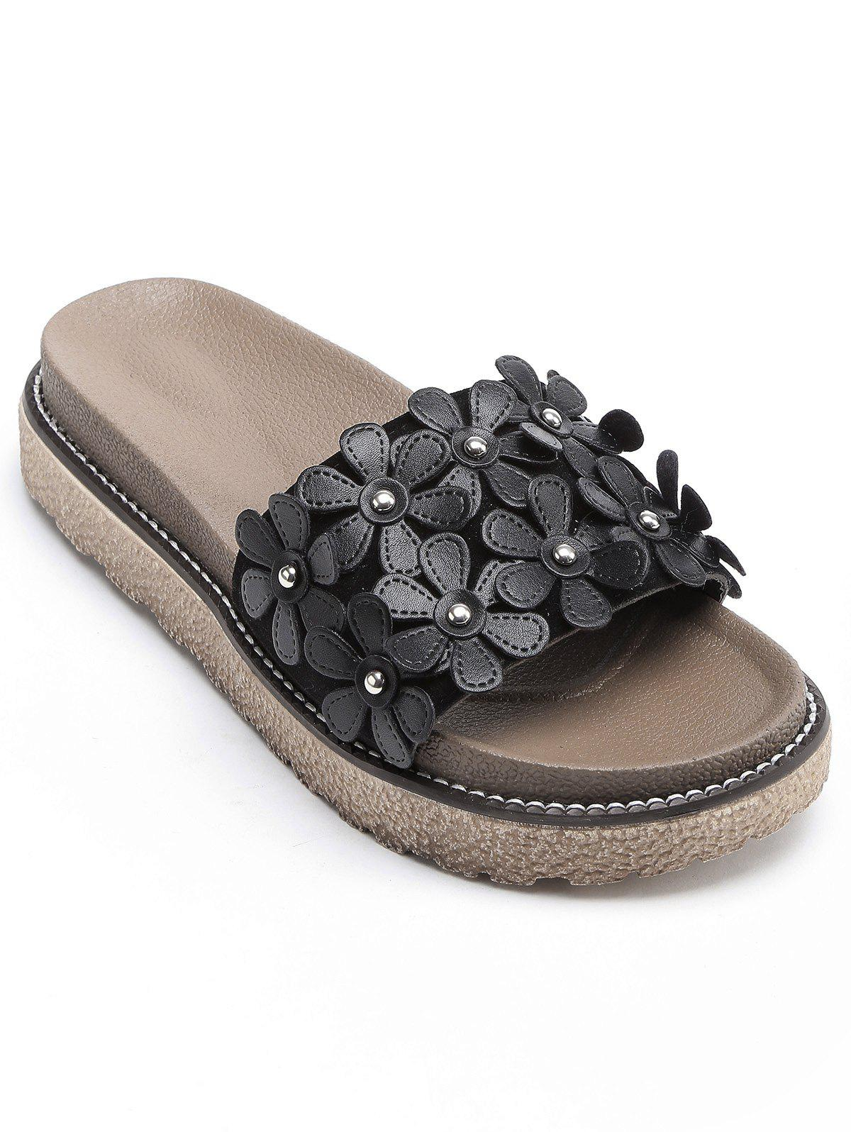Leisure Flowers Holiday Beach Slides - BLACK 36