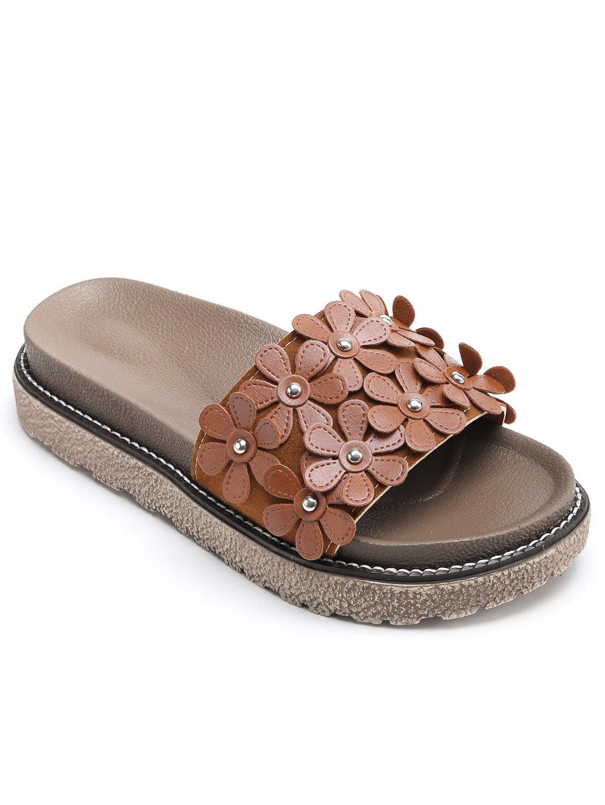 Leisure Flowers Holiday Beach Slides - BROWN 35