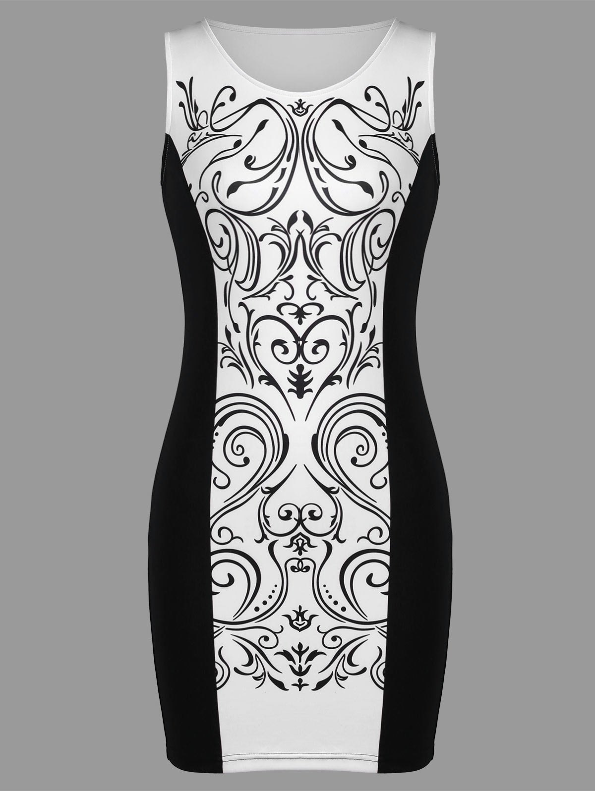 Baroque Print Sleeveless Bodycon Dress - WHITE/BLACK L