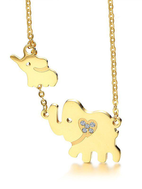 Rhinestone Alloy Elephant Charm Collarbone Necklace - GOLD