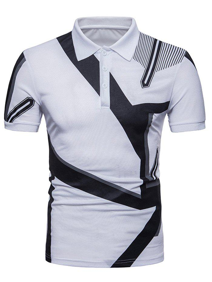 Casual Geometrical Figures Printed Polo T-shirt - WHITE M