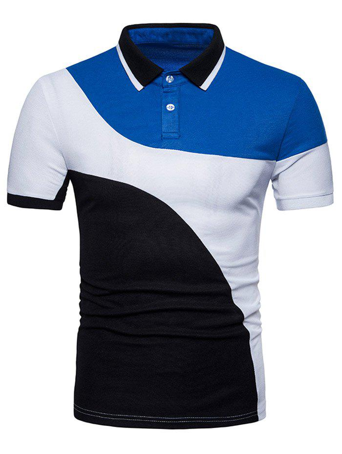 Short Sleeve Mixed Colors Polo T-shirt - WHITE XL