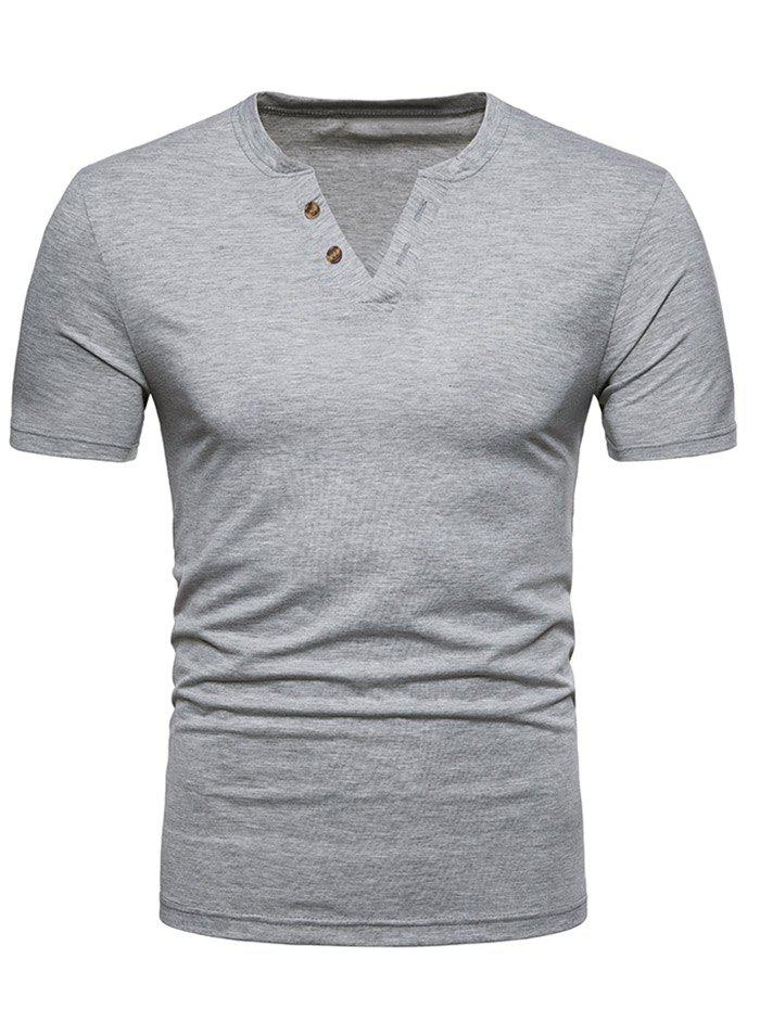 V Neck Button Decorated T-shirt - LIGHT GRAY 2XL