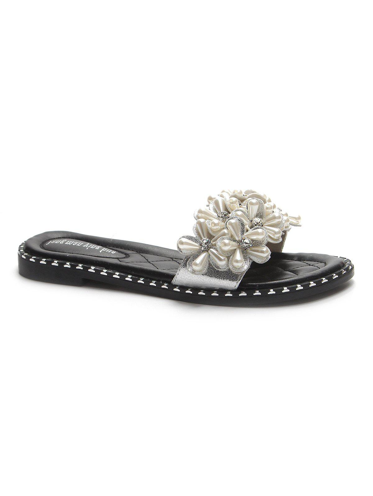 Casual Rhinestone Embellished Slides for Holiday - WHITE 40