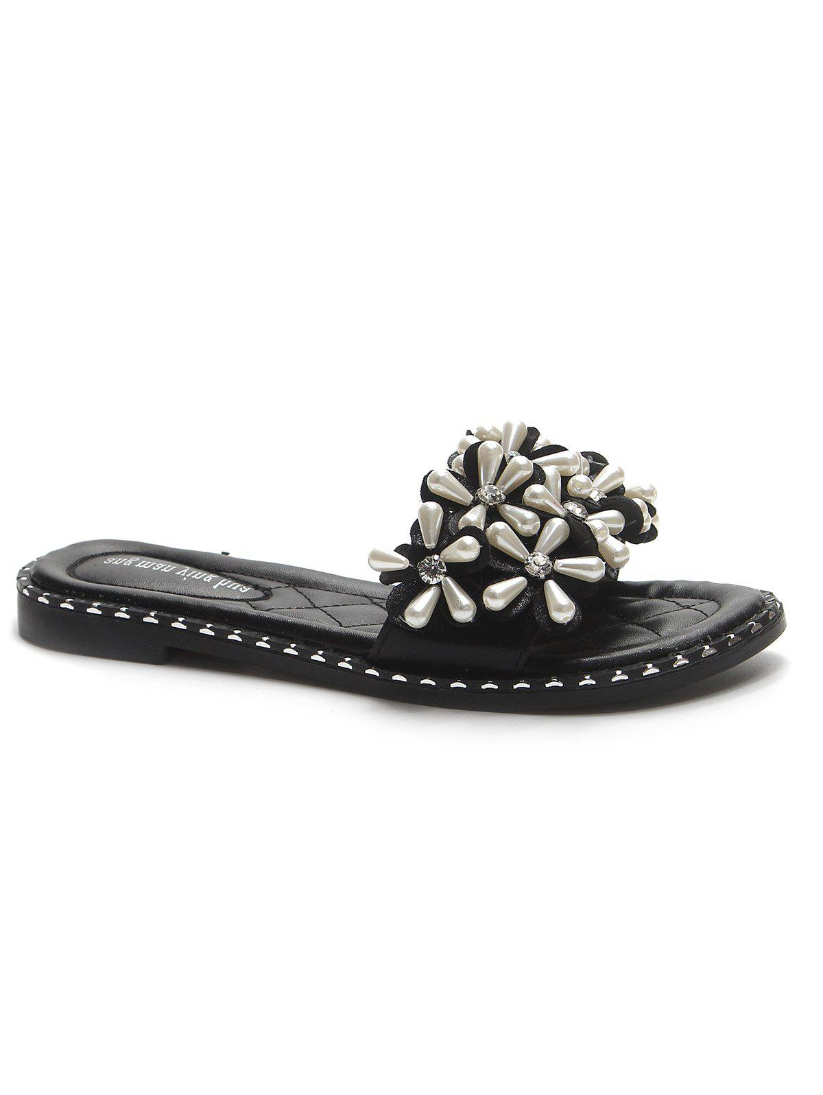 Casual Rhinestone Embellished Slides for Holiday - BLACK 36