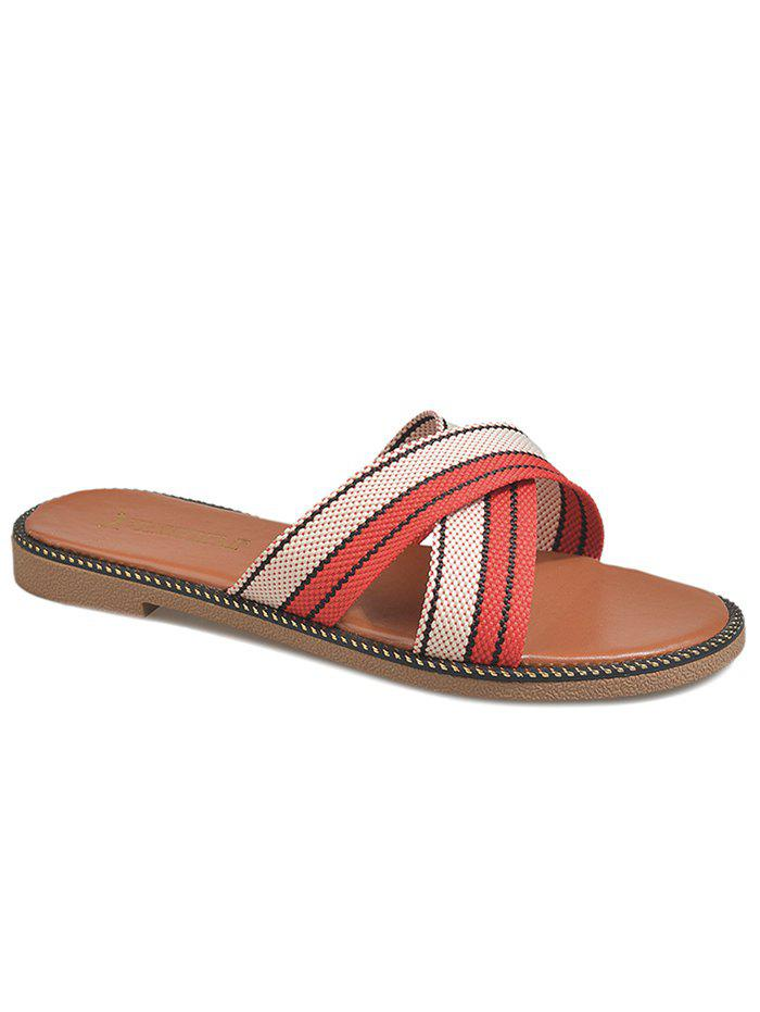 Leisure Holiday Cross Strap Slide Sandals - WATERMELON PINK 40