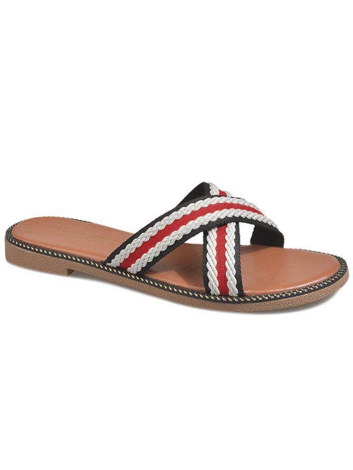 Leisure Holiday Cross Strap Slide Sandals - FIRE ENGINE RED 40