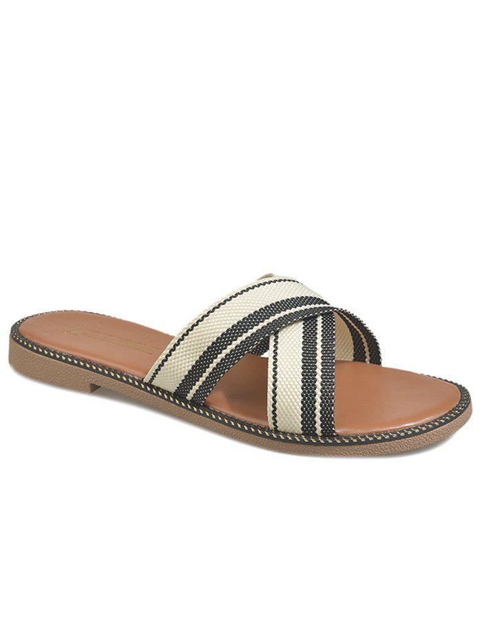 Leisure Holiday Cross Strap Slide Sandals - BLACK 36