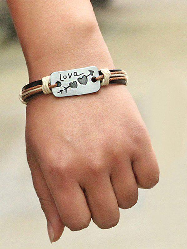 Artificial Leather Engraved Heart Love Arrow Bracelet - BROWN