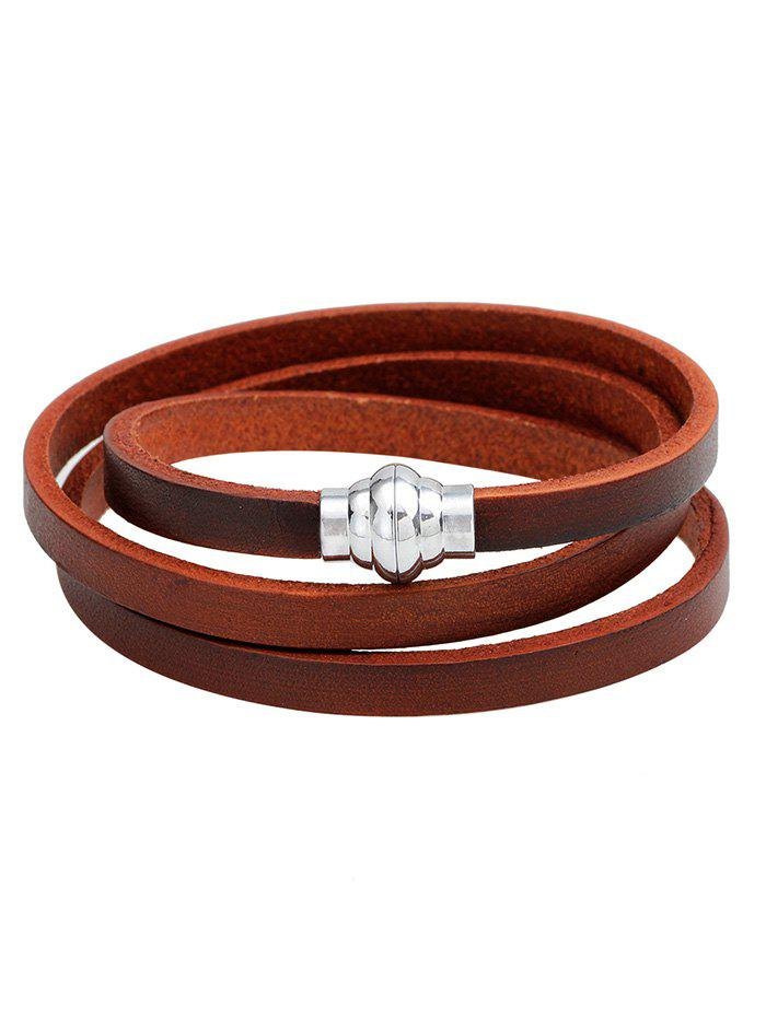 Artificial Leather Magnetic Buckle Wrap Bracelet - BROWN