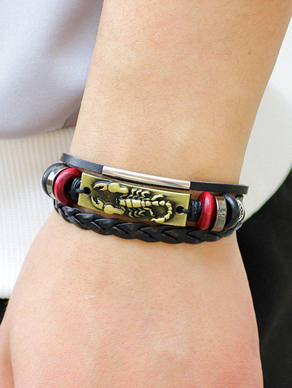 Artificial Leather Rope Braid Engraved Scorpion Bolo Bracelet - GOLD
