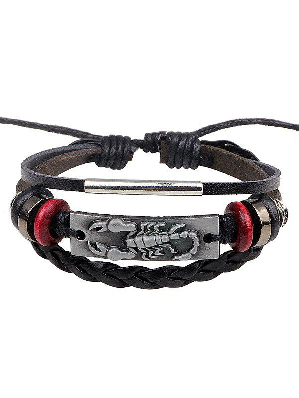 Artificial Leather Rope Braid Engraved Scorpion Bolo Bracelet - SILVER