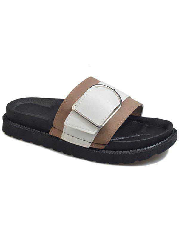Metal Buckled Contrasting Color Leisure Slides - LIGHT KHAKI 36